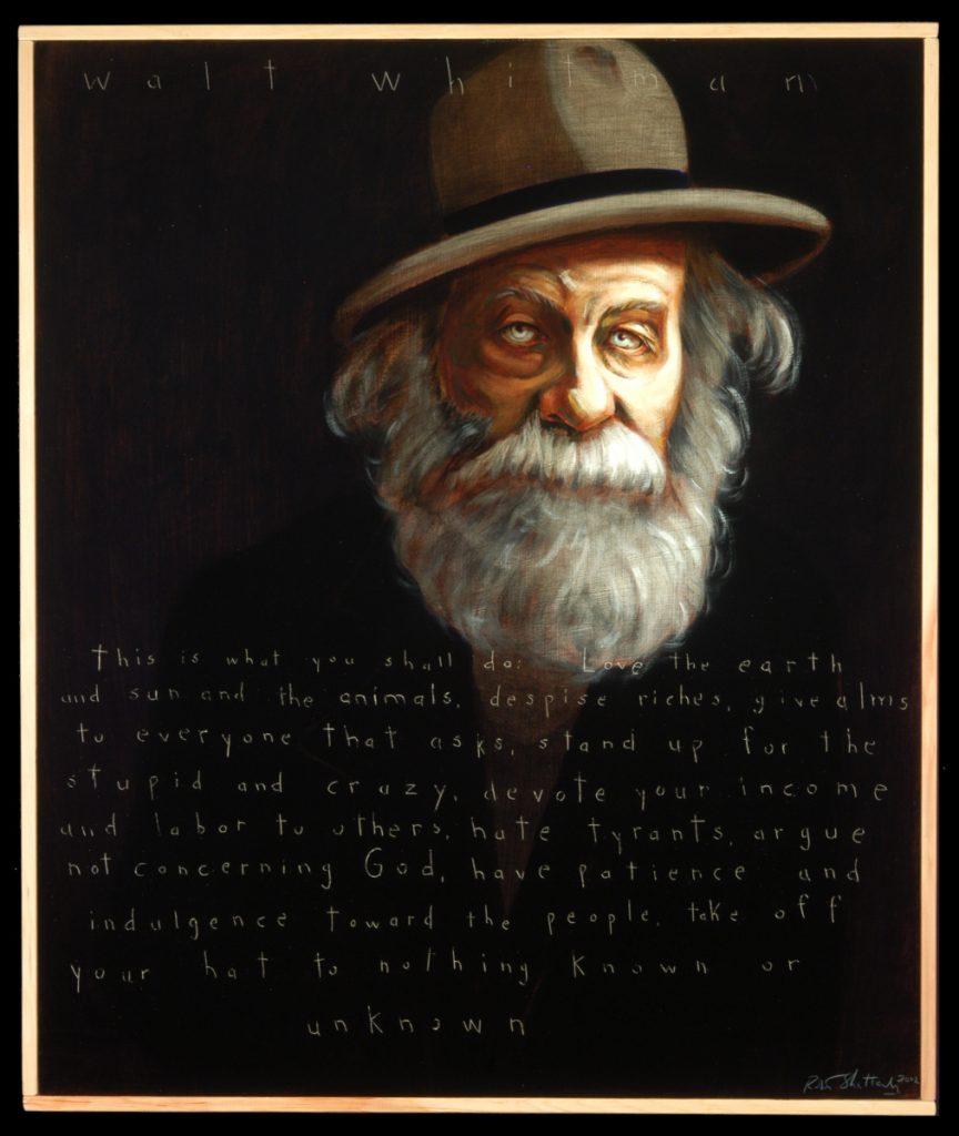 Robert Shetterly's portrait of the American poet Walt Whitman.