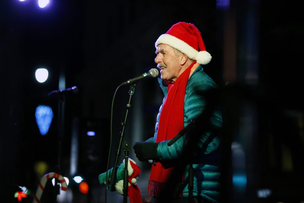 Maine children's singer Rick Charette performs during the annual Christmas tree lighting in Monument Square. Charette has been entertainment children in Maine and New England for more than 30 years and has just announced he's retiring.