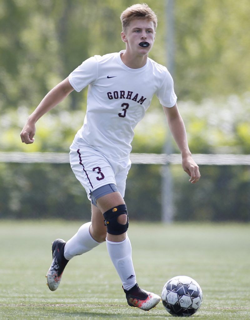Andrew Rent of Gorham, still a junior, has moved from left back to midfield to forward, continuing to excel with a team that always contends.