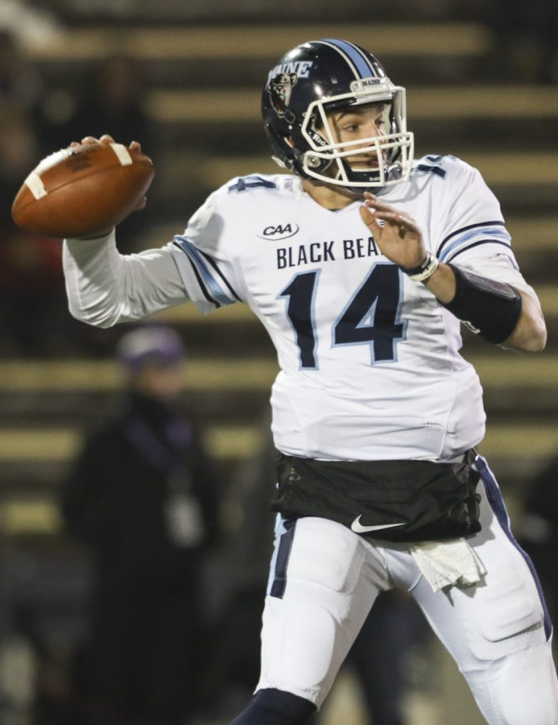 Maine quarterback Chris Ferguson directed an offense that had to work for everything against Weber State but came through with big plays, including a 67-yard touchdown pass to Earnest Edwards.