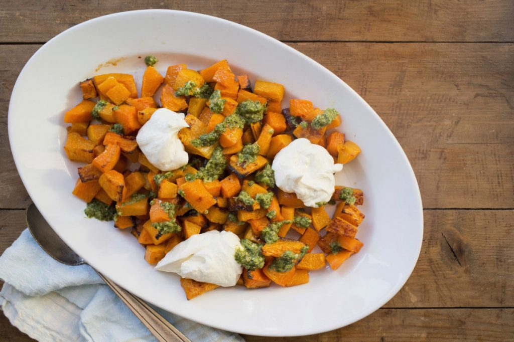 This recipe for Roasted Squash with Salsa Verde and Whipped Feta Ricotta makes eight servings.