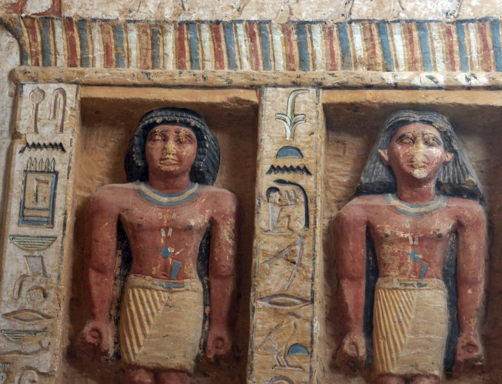 Relief statues decorate the walls of the tomb of a high official who served during the reign of King Nefer Ir-Ka-Re, about 4,400 years ago, near the Step Pyramid of Saqqara, in Giza, Egypt, on Saturday.