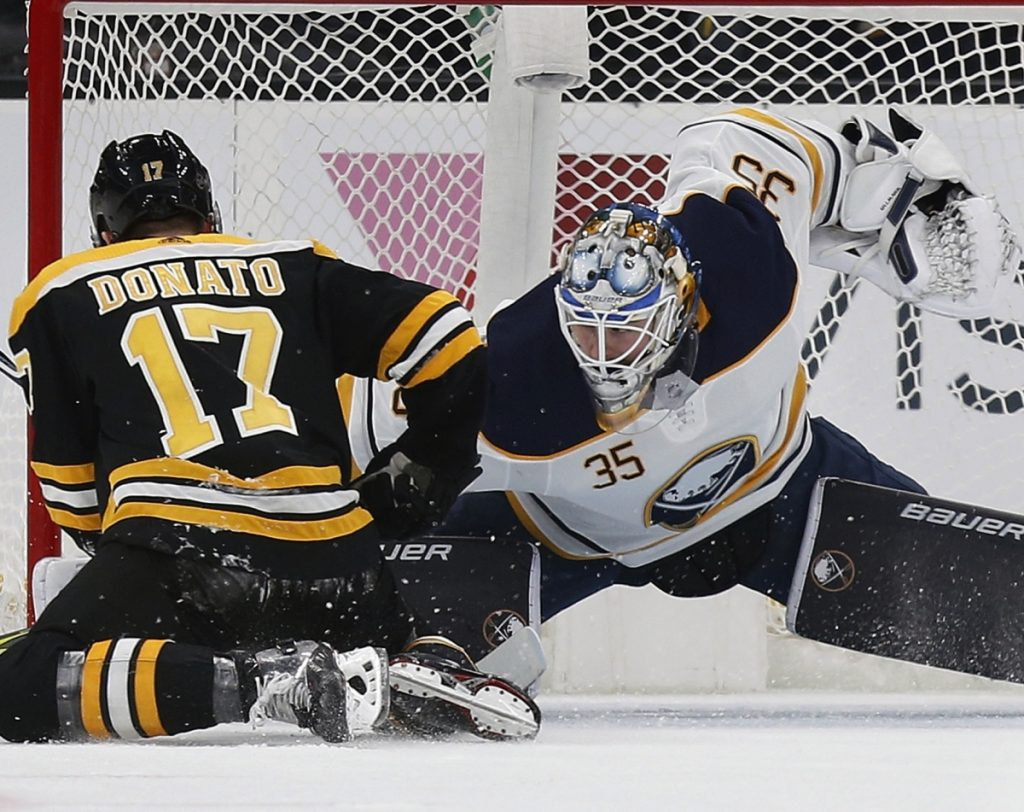 Buffalo's Linus Ullmark stops a penalty shot by Boston's Ryan Donato during the Sabres' 4-2 win Sunday in Boston.