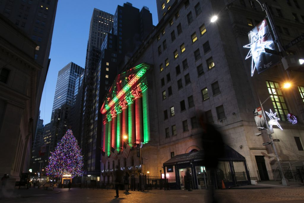 Without a decent rally, this could be the worst December since 1931 on the New York Stock Exchange, shown bathed in holiday light.