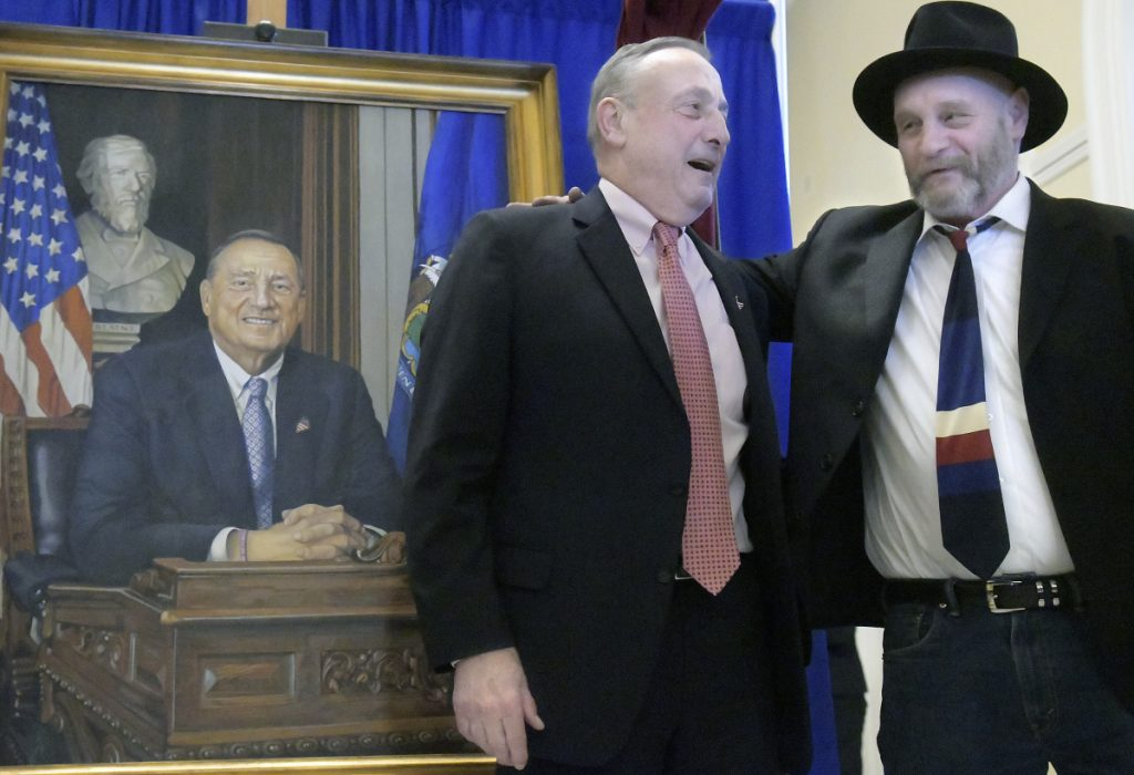 Gov. Paul LePage with Ken Hendrickson, the artist LePage chose to paint his official portrait.