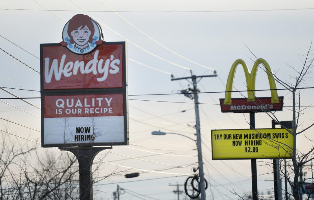 Wendy's and McDonald's on Route 1 in Saco were both advertising for help on Thursday. Maine's unemployment rate has been under 4% for three straight years.