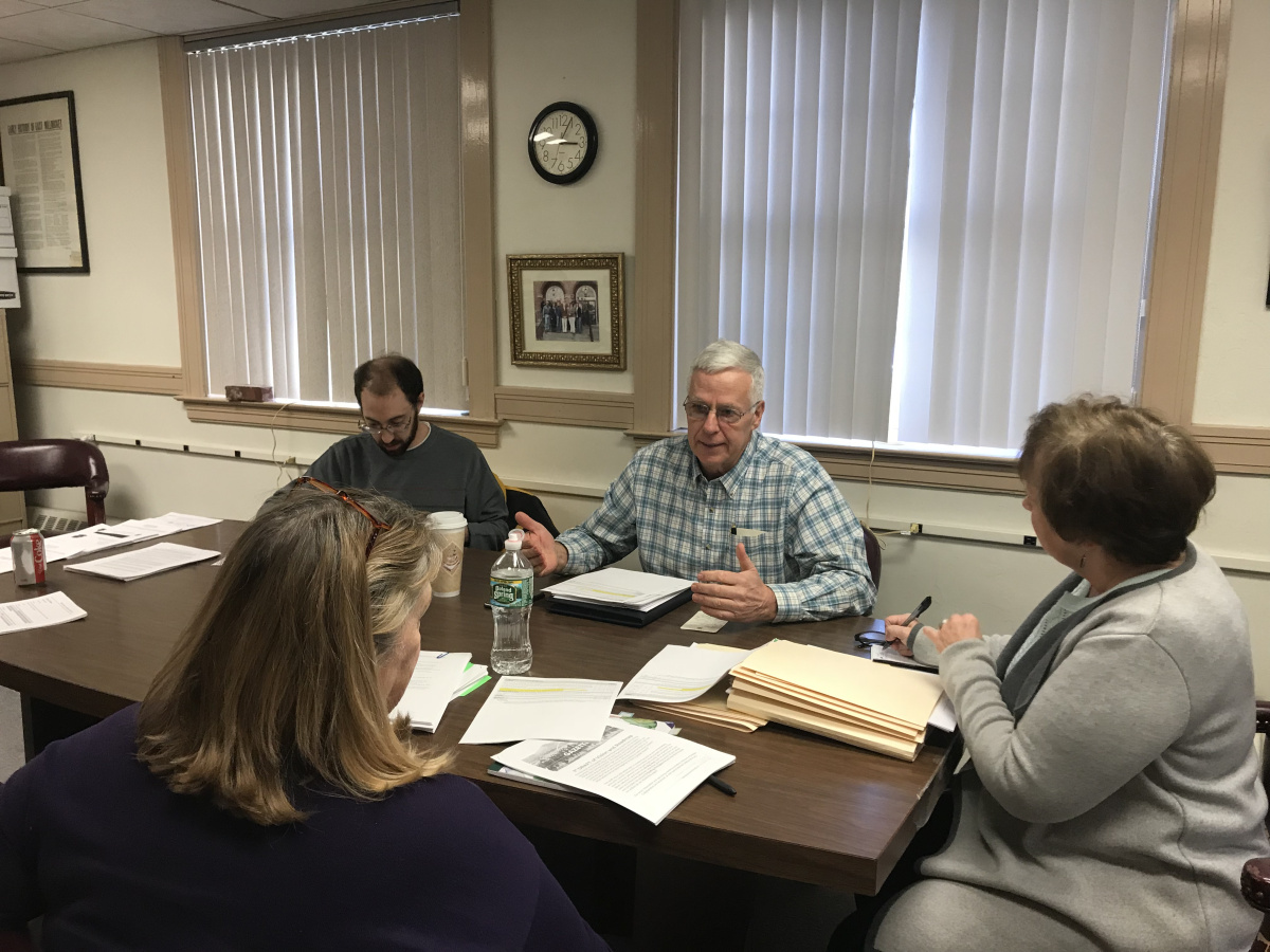 Former U.S. Rep. Mike Michaud, center, speaks at a Dec. 11 comprehensive plan meeting for East Millinocket. After running unsuccessfully for governor in 2014 and working for two years in the Labor Department, Michaud now serves on the Board of Selectmen. He's joined by Selectman Kyle Leathers; Peggy Daigle, right, board chairwoman; and planning consultant Vicki Rusbult.
