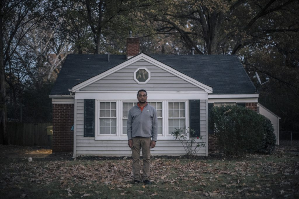Christopher Neely stands in front of the house he had rented from FirstKey in Memphis.