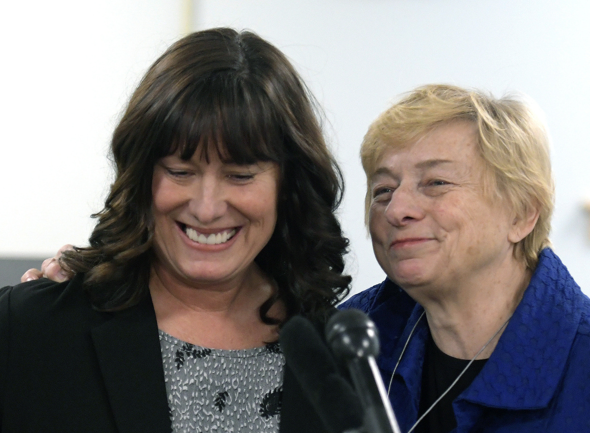 Pender Makin of Scarborough is introduced Wednesday by Gov.-elect Janet Mills, who nominated Makin to be commissioner of education.