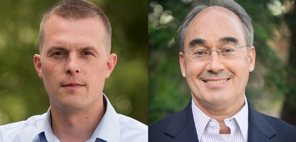 A judge recently ruled in favor of voting innovations like the system under which Jared Golden, left, defeated Bruce Poliquin.