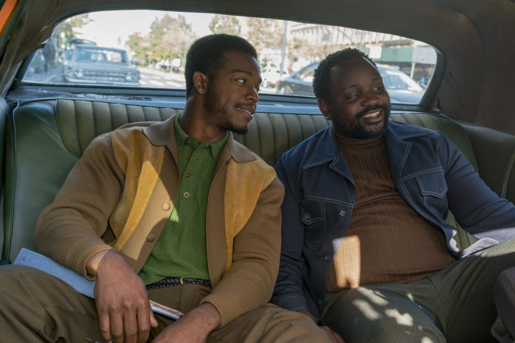 "This image released by Annapurna Pictures shows Stephan James, left, and Brian Tyree Henry in a scene from ""If Beale Street Could Talk.""  Henry has been nominated for an Emmy, a Tony and this fall he plays a small but essential part in two of the season's top film, ""If Beale Street Could Talk"" and ""Widows."""