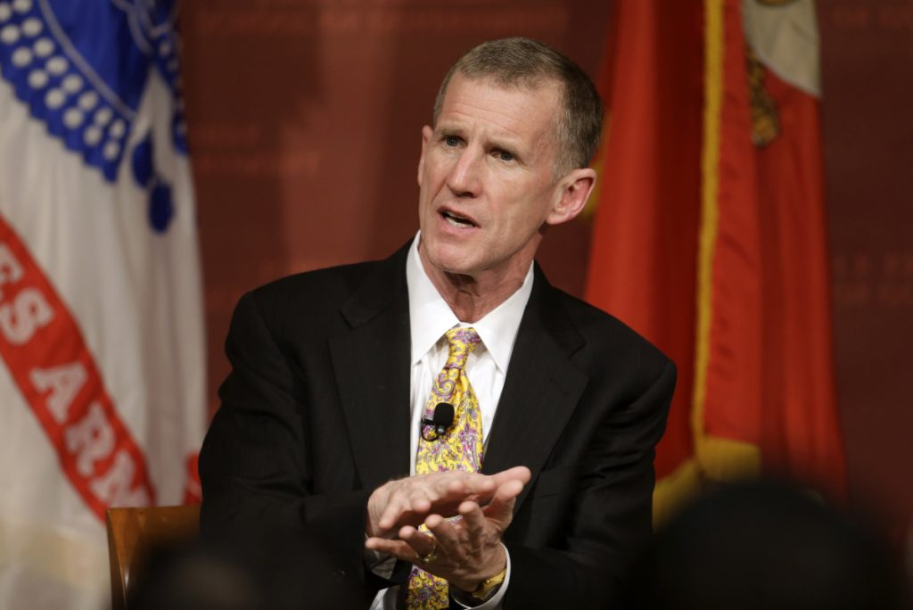 "Retired Army Gen. Stanley McChrystal says that withdrawing up to half the 14,000 U.S. troops in Afghanistan reduces the incentive for the Taliban to negotiate a peace deal after more than 17 years of war. ""I don't believe ISIS is defeated,"" he said."