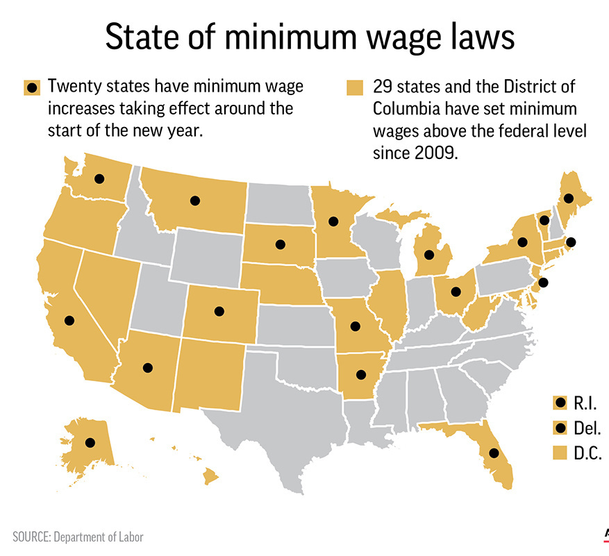 Ohio, New York See Minimum Wage Increases; Pennsylvania's Remains Unchanged