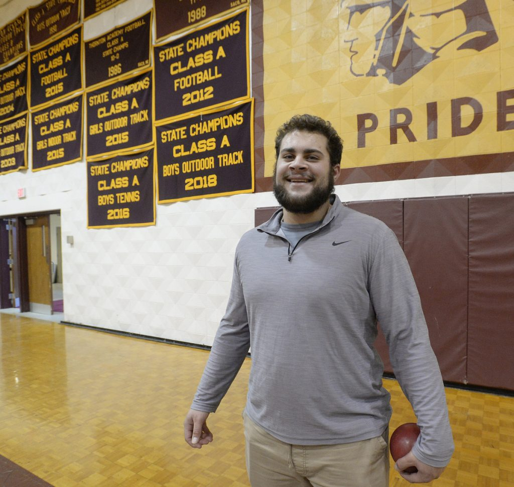Last year, Jason Montano of Thornton Academy threw the shot put 55, 56 feet. Now he's gone over 61, and with college, a pro career and the Olympics as goals, there's no telling what the future holds.
