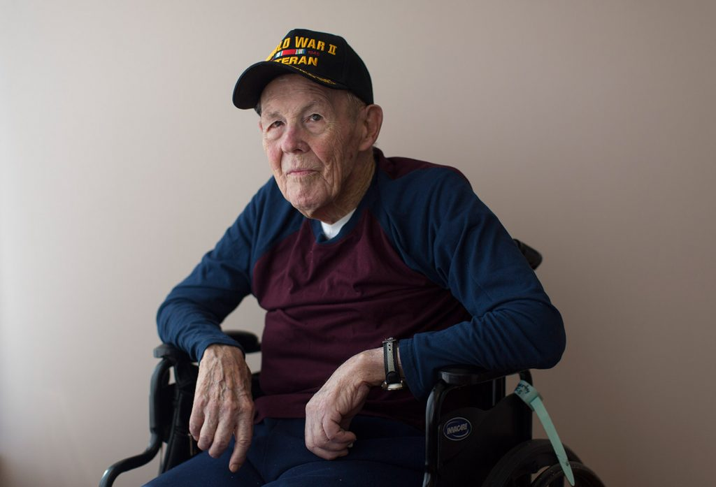 "Paul Marks, 96, a World War II Navy veteran, served from 1942-45. He says that when he learned of the attack on Pearl Harbor, ""I felt very seriously that I'm an American and I need to go into the service."""