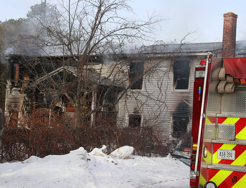 The house at 681 Webber Hill Road in Kennebunk that burned Wednesday morning.