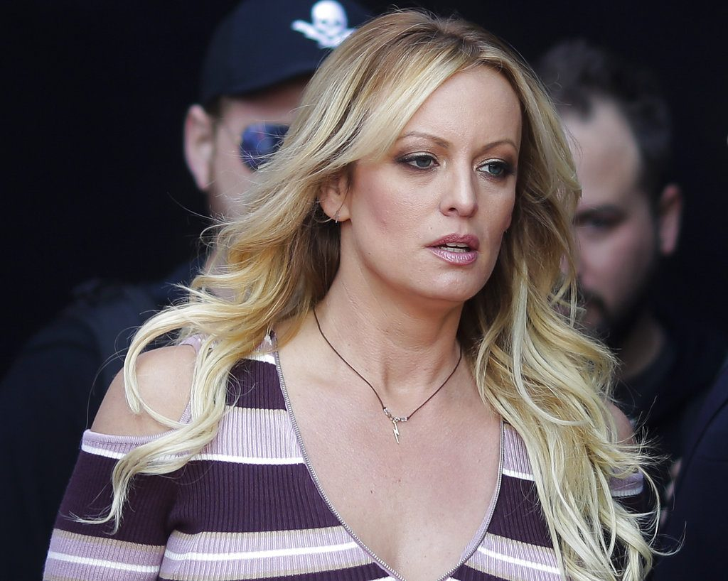 "Adult film actress Stormy Daniels arrives for the opening of the adult entertainment fair ""Venus,"" in Berlin in October. Attorneys for President Trump want a Los Angeles judge to award $340,000 in legal fees for successfully defending him against defamation claims by Daniels."