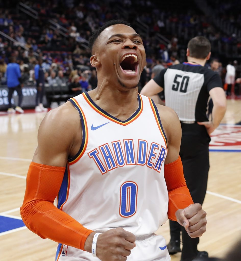 Oklahoma City guard Russell Westbrook helped the Thunder snap the Detroit Pistons' five-game winning streak on Monday in Detroit.