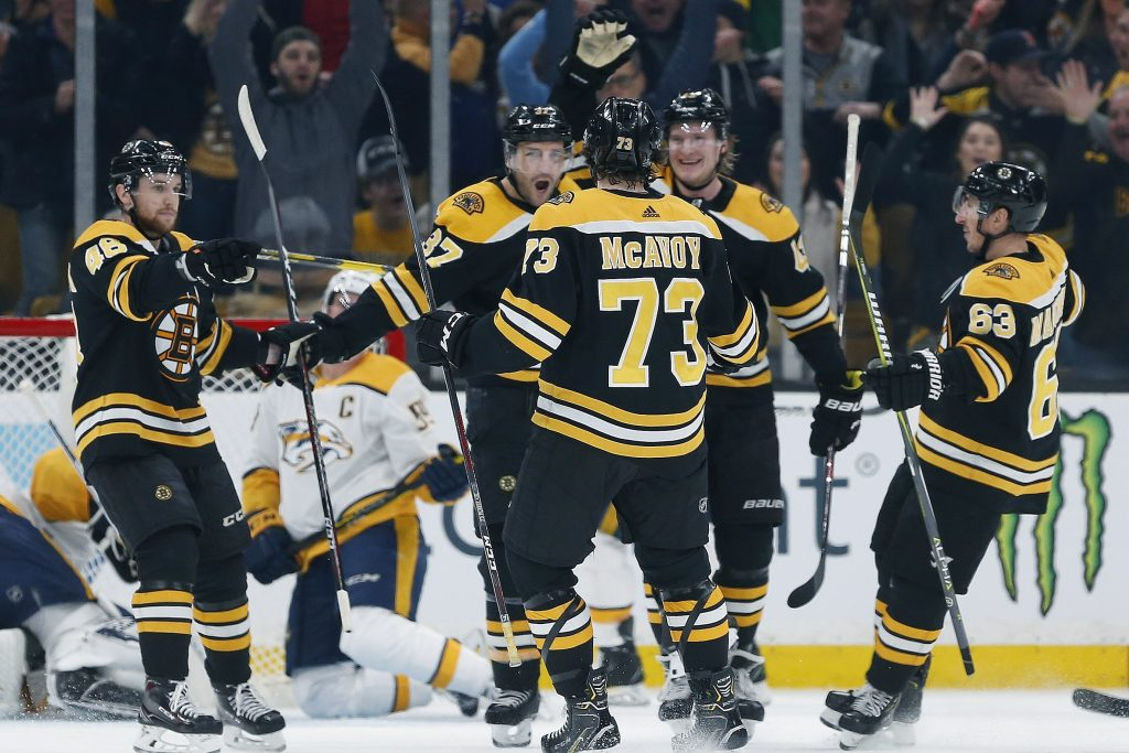 Patrice Bergeron, center, returned to the Bruins lineup after a lengthy absence due to injury. His return made an instant impact.