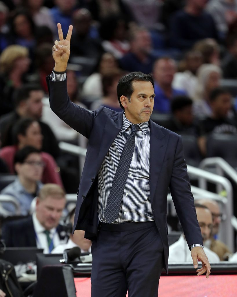 Miami Coach Erik Spoelstra directs his players during the Heat's 115-92 win over Orlando on Sunday in Orlando, Florida. It was the 500th career win of Spoelstra's coaching career.