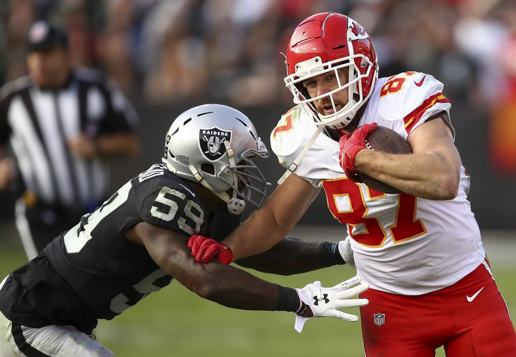 Kansas City's Travis Kelce goes into the Chiefs season finale with 1,274 yards receiving, fourth most ever for a tight end. He needs 54 yards to break the record set by Rob Gronkowski in 2011.