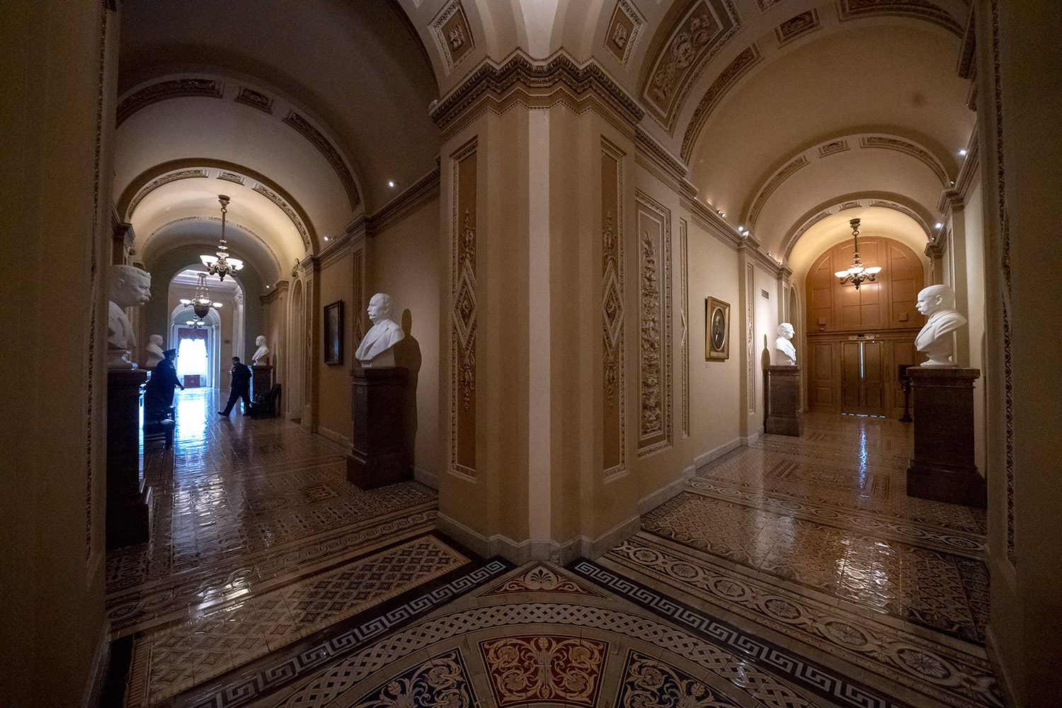 Corridors around the Senate are empty Thursday during the partial government shutdown, which will continue at least until new lawmakers are sworn in Jan. 3.