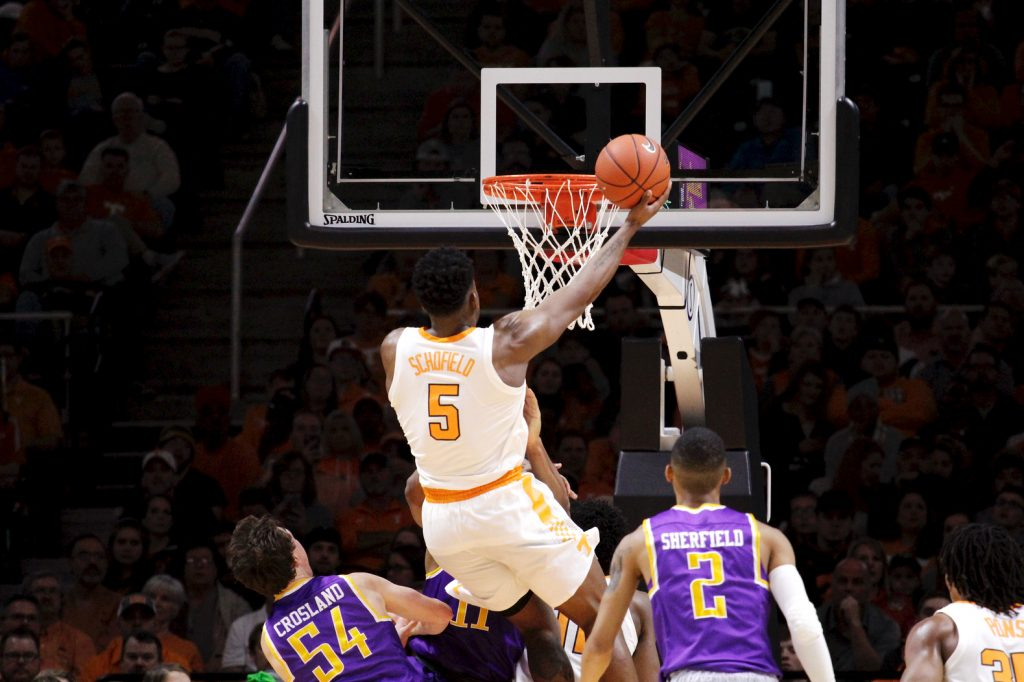 Tennessee guard Admiral Schofield (5) attempts a lay up against Tennessee Tech in the second half of a Saturday in Knoxville, Tenn. Tennessee wins 96-53.