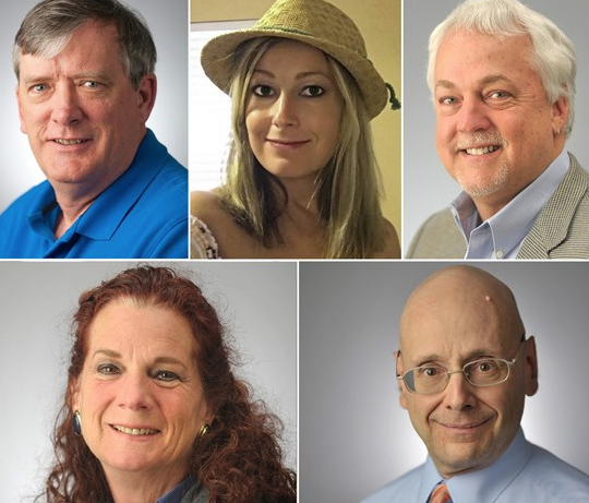 Capital Gazette victims clockwise from top left: John McNamera, Rebecca Smith, Rob Hiaasen, Gerald Fischman and Wendi Winters.