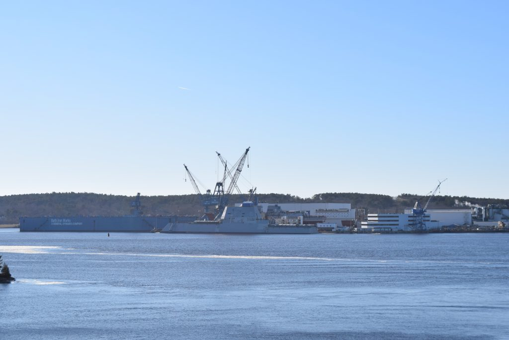 The future USS Lyndon B. Johnson was put into the water Sunday at Bath Iron Works.