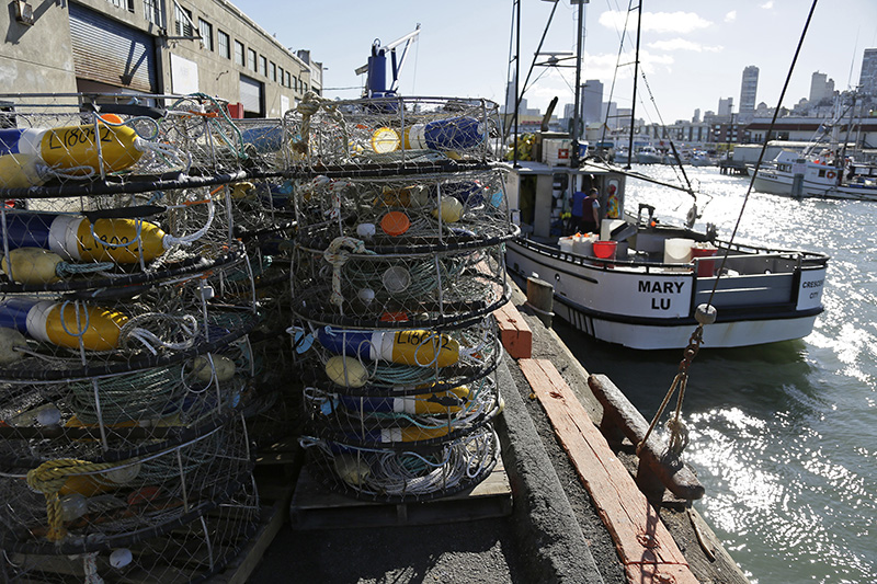 Crab pots and a boat at Fisherman's Wharf in San Francisco in 2016.