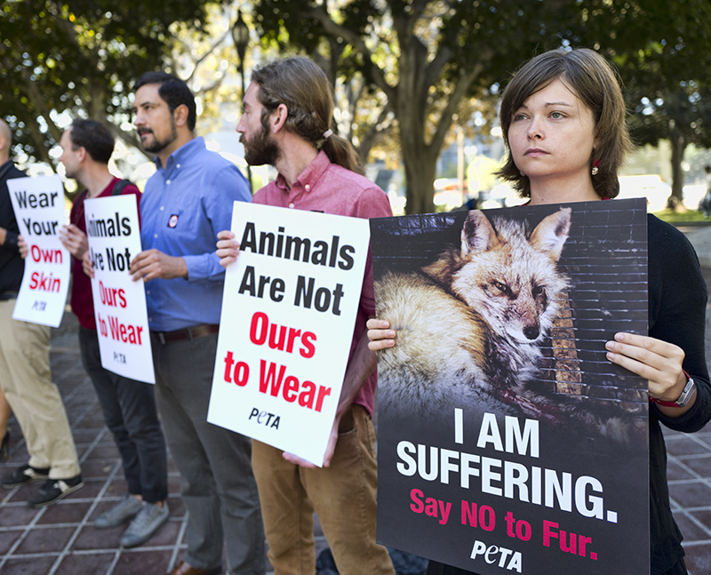 Protesters with the People for the Ethical Treatment of Animals (PETA) in Los Angeles in September.