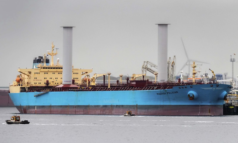 The Maersk Pelican tanker with rotor sail technology in Rotterdam, Netherlands,  the first such installation on a tanker.