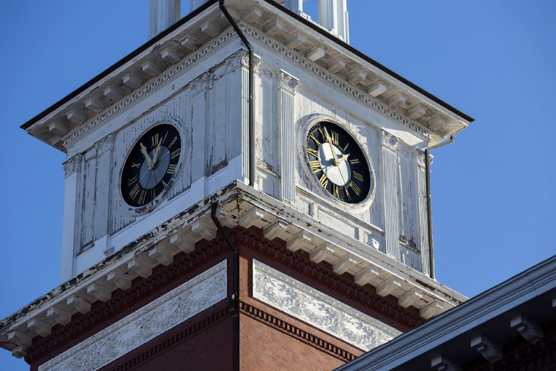 The clock tower on Biddeford's 124-year-old City Hall.