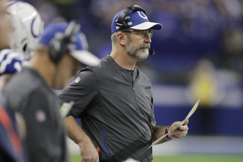 Indianapolis Colts head coach Frank Reich during the second half of an NFL football game against the New York Giants in Indianapolis, Sunday, Dec. 23, 2018. (AP Photo/Darron Cummings)