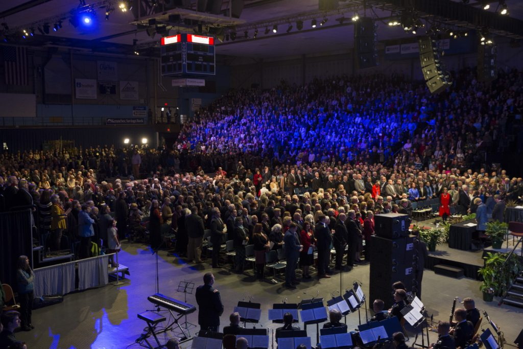 A fired-up crowd fills the Augusta Civic Center during the inauguration of Gov. Janet Mills oin January.