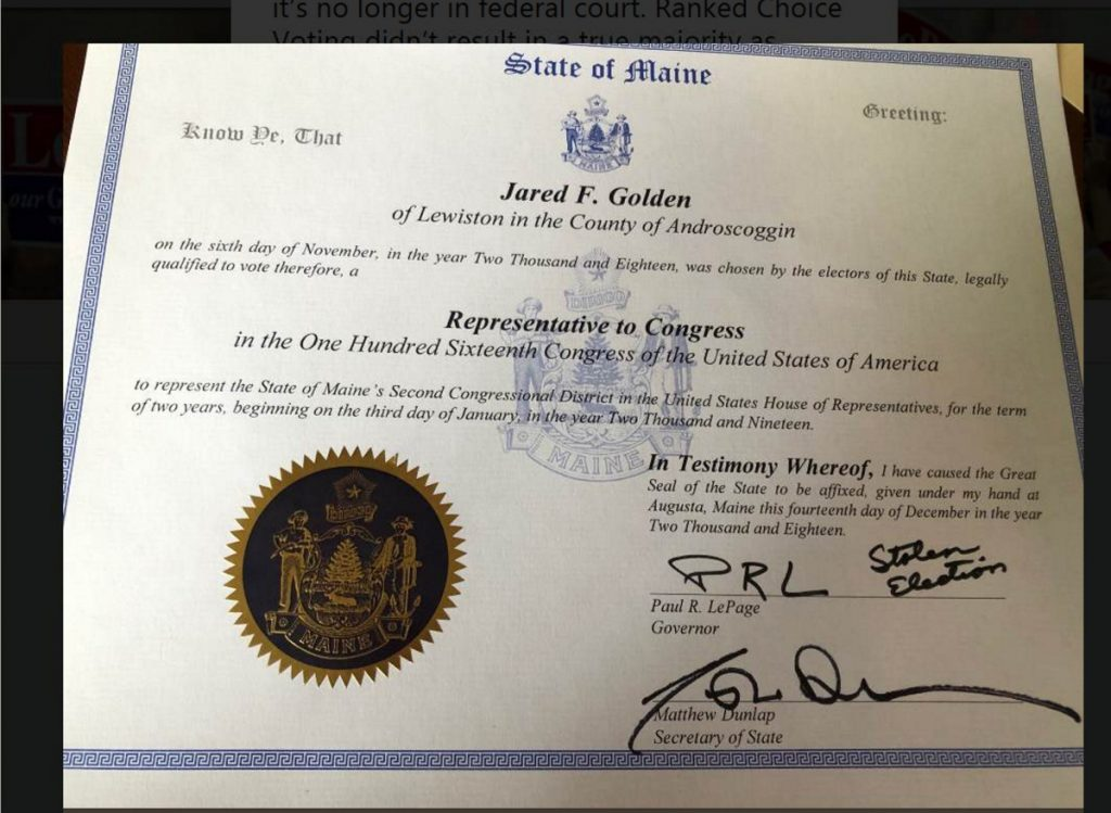 "Outgoing Gov. Paul LePage initialed Jared Golden's certificate of election in the 2nd District, but also wrote ""stolen election"" on it, which a reader found ""appalling."""