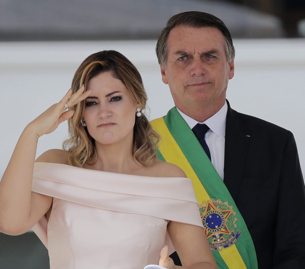 President Jair Bolsonaro of Brazil, with first lady Michelle Bolsonaro in Brasilia on Tuesday, is moving to end what he calls concessions to indigenous communities.