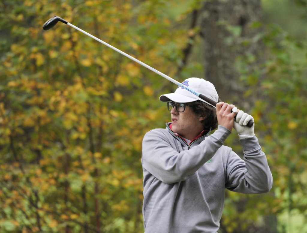 Caleb Manuel of Mt. Ararat High won the Class A individual golf championship in October at Natanis Golf Course in Vassalboro. (Photo by John Ewing/Staff Photographer)