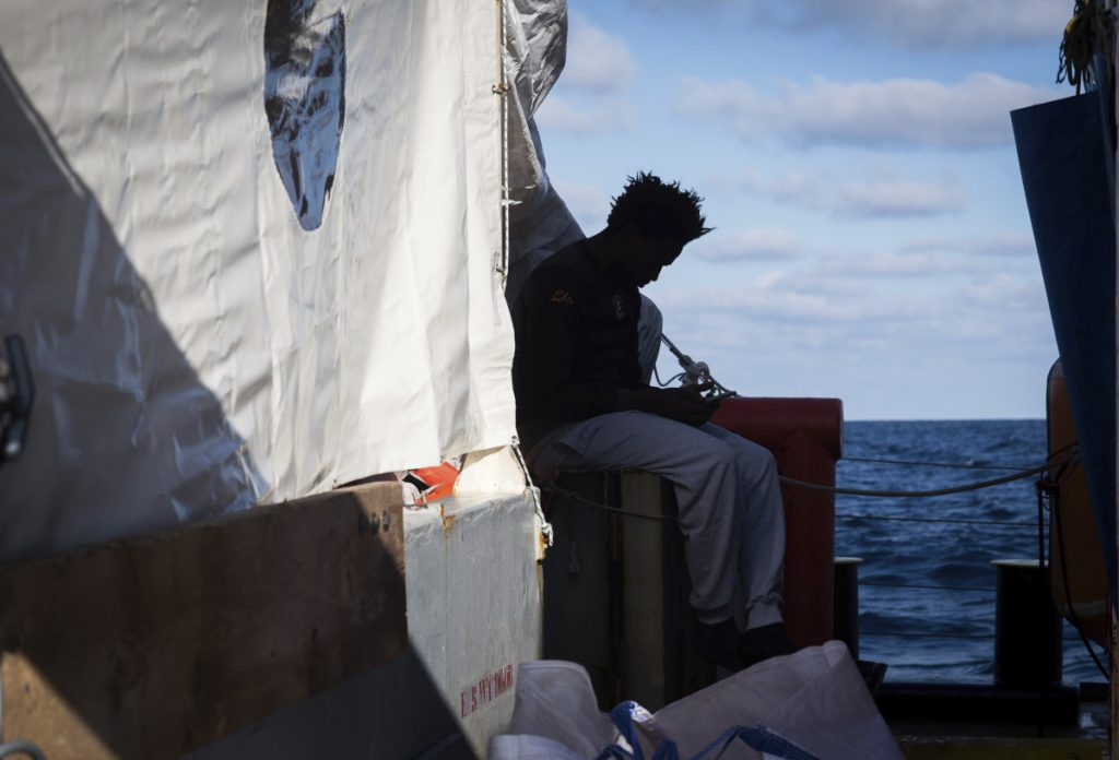 Migrants wait indefinitely aboard the rescue ship Sea-Watch 3 in December following their rescue in the central Mediterranean Sea by the German nonprofit rescue organization Sea-Watch.