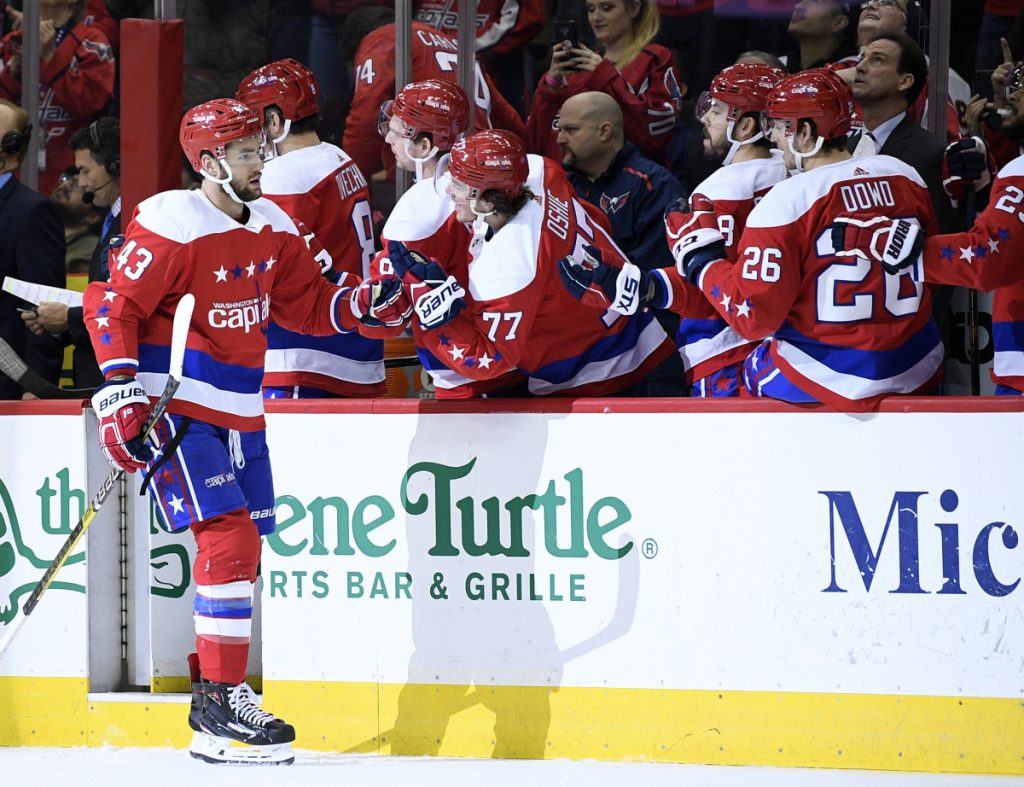 Washington right wing Tom Wilson celebrates his goal during the Capitals' 5-3 win over Philadelphia on Tuesday night.