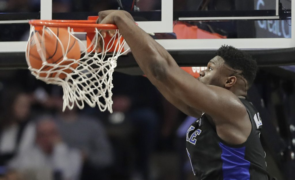 Duke's Zion Williamson dunks against Wake Forest during the first half of an 87-65 victory at Winston-Salem, N.C.