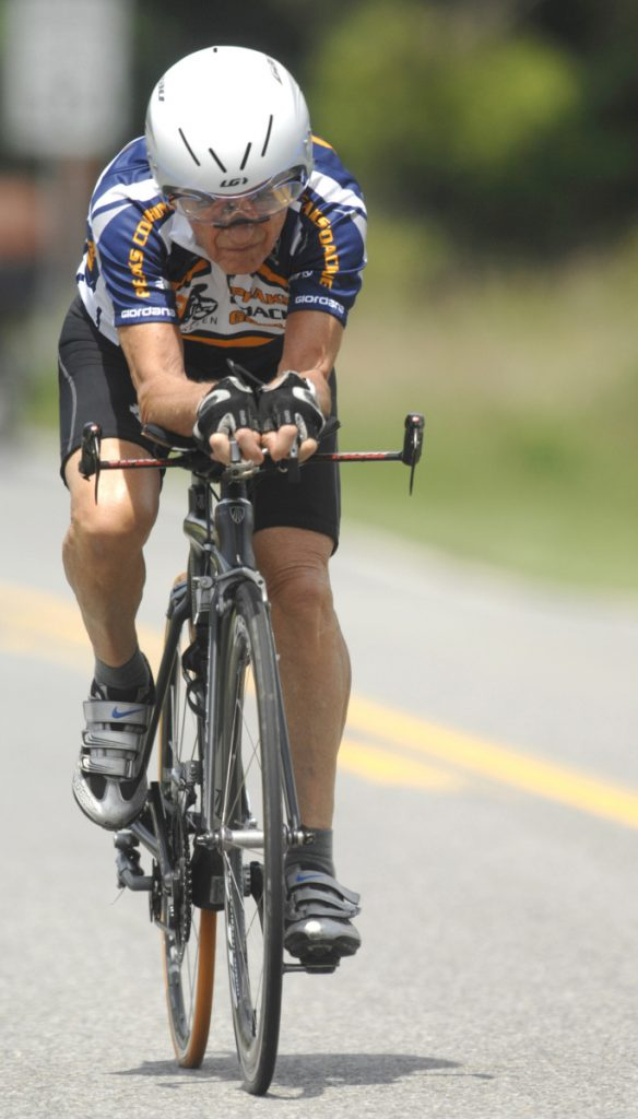 Carl Grove, training here in 2011, says he keeps on cycling to show people they can live a quality life in their 80s and 90s. But Grove recently tested positive for the steroid trenbolone, a result the U.S. Anti-Doping Agency later said was likely from tainted steak.