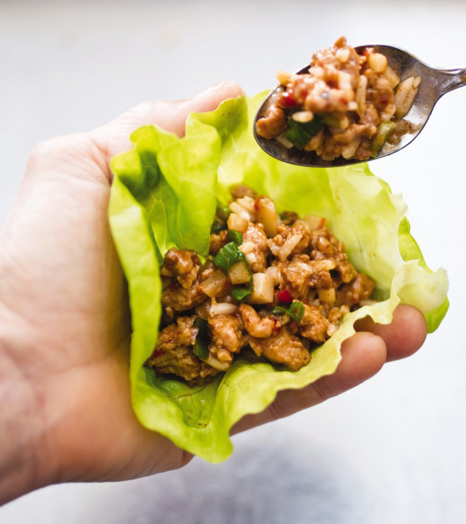 This recipe for Asian Chicken Lettuce Wraps makes 4 servings.