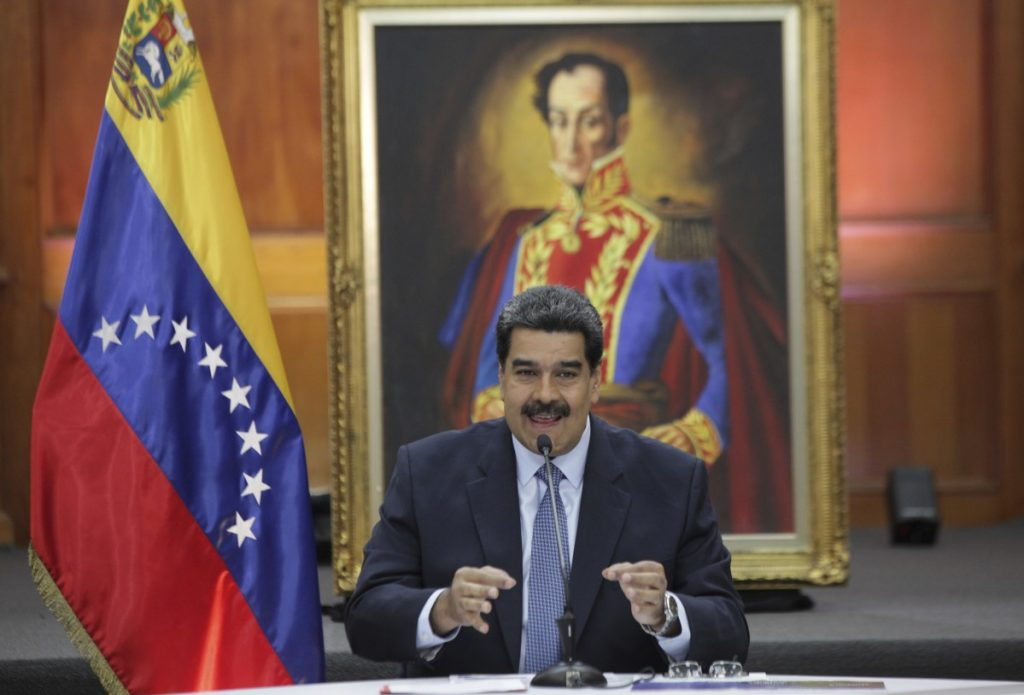 Venezuela's President Nicolas Maduro holds a news conference for foreign media Wednesday. Maduro was sworn in for a second, six-year term Thursday.