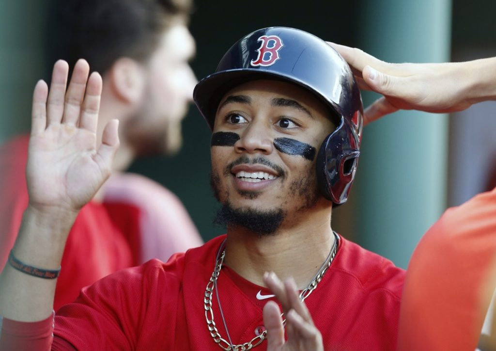 Mookie Betts, the 2018 American League MVP, has agreed to a $20 million deal with the Boston Red Sox for the 2019 season, according to media reports. (AP Photo/Michael Dwyer, File)
