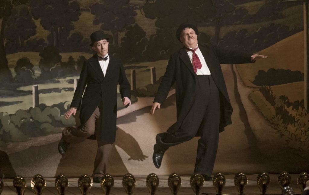 "Steve Coogan as Stan Laurel, left, and John C. Reilly as Oliver Hardy in a scene from ""Stan & Ollie."""