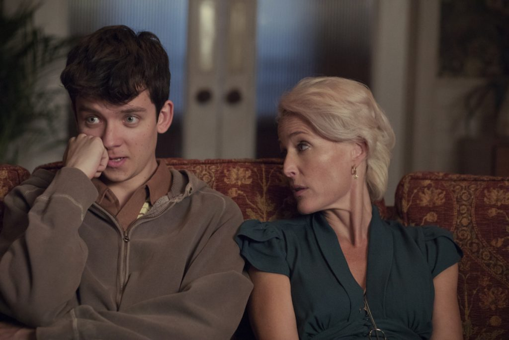 "Asa Butterfield and Gillian Anderson star as a son and mother each exploring the contemporary sexual landscape in ""Sex Education."""