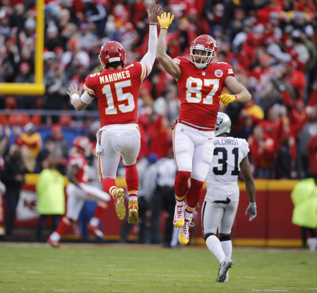 Kansas City quarterback Patrick Mahomes, left, and tight end Travis Kelce have spearheaded an offense that has show it can strike quickly. Now if the rest of the team does its share, the Chiefs may cast aside years of frustration.
