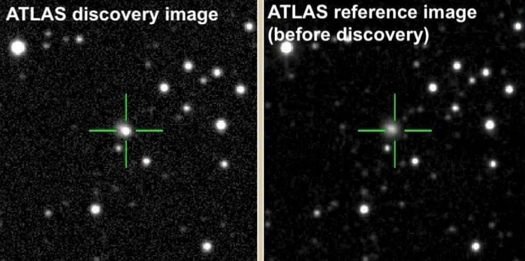 Images taken by the ATLAS telescopes before the explosion and after show the sudden brightening in the galaxy CGCG 137-068.