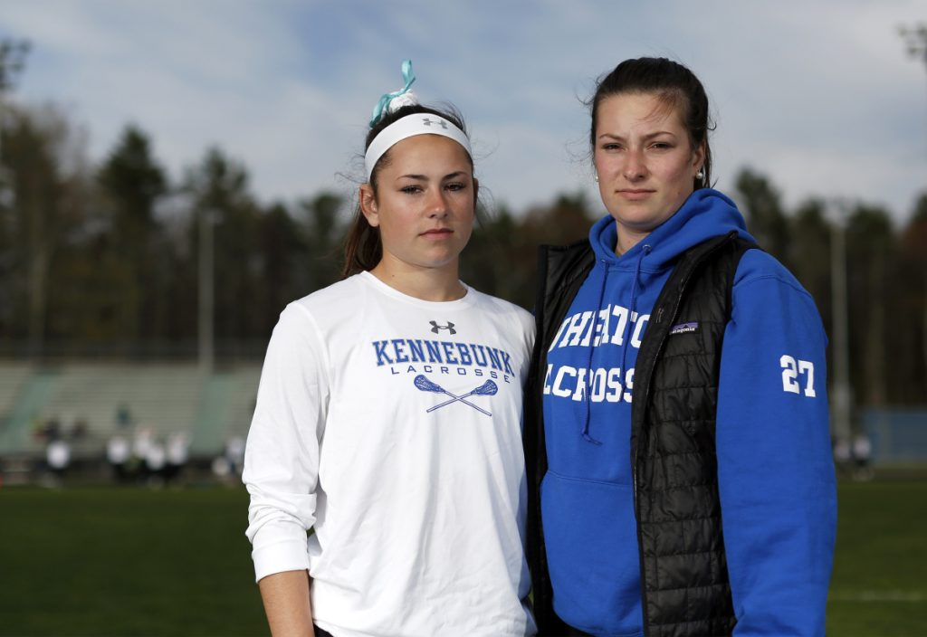 """Sisters Hallie, left, and Kyra Schwartzman both suffered concussions while playing soccer for Kennebunk High School, where their father, Joe Schwartzman, is athletic director. """"It's just the nature of the sport,"""" Hallie said."""